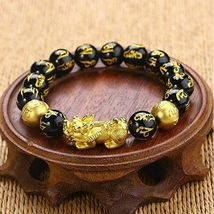 1 x Black Obsidian Feng Shui Pi Xiu Bracelet Beads Attract Good Luck Wealth  image 6
