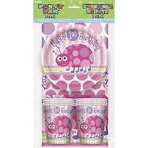 1st Birthday Pink Ladybug Party Pack 8 Plates 8 Cups 8 Napkins Tablecover - $9.49