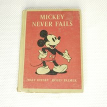 Vintage Walt Disney Book Mickey Never Fails by Robin Palmer 1939 1st Edi... - $22.24