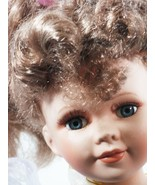 "Doll 16"" Inches Porcelain Hand Panted Brown Hair Purple Dress (B16B) - $49.49"