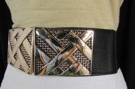 Nero,da Donna Elastico Moda Cintura Vita Metallo Oro Strisce Fibbia Quadrata S M image 6
