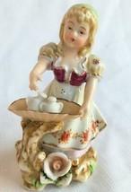 Lenwile Ardalt Hand-Painted Porcelain Figurine Girl Basket #6004B Vintag... - $19.95