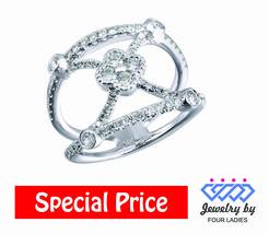 Solid 14K White Gold 0.8CT Real Natural Diamond Vintage Filigree Ring Je... - $828.90