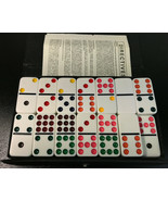 Vintage 55 Pc Double Nine 9 Dominoes Set Colored Dobs Black Travel Case - $25.17