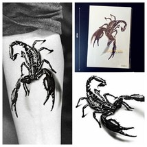 1PC Large 3D Black Metallic Scorpion King Temporary Tattoo Sticker Men Body Art  - $1.87