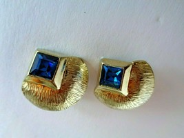 Brushed Goldtone Clip Earrings Marked PAT 156452 w/ Blue Stone - $3.95