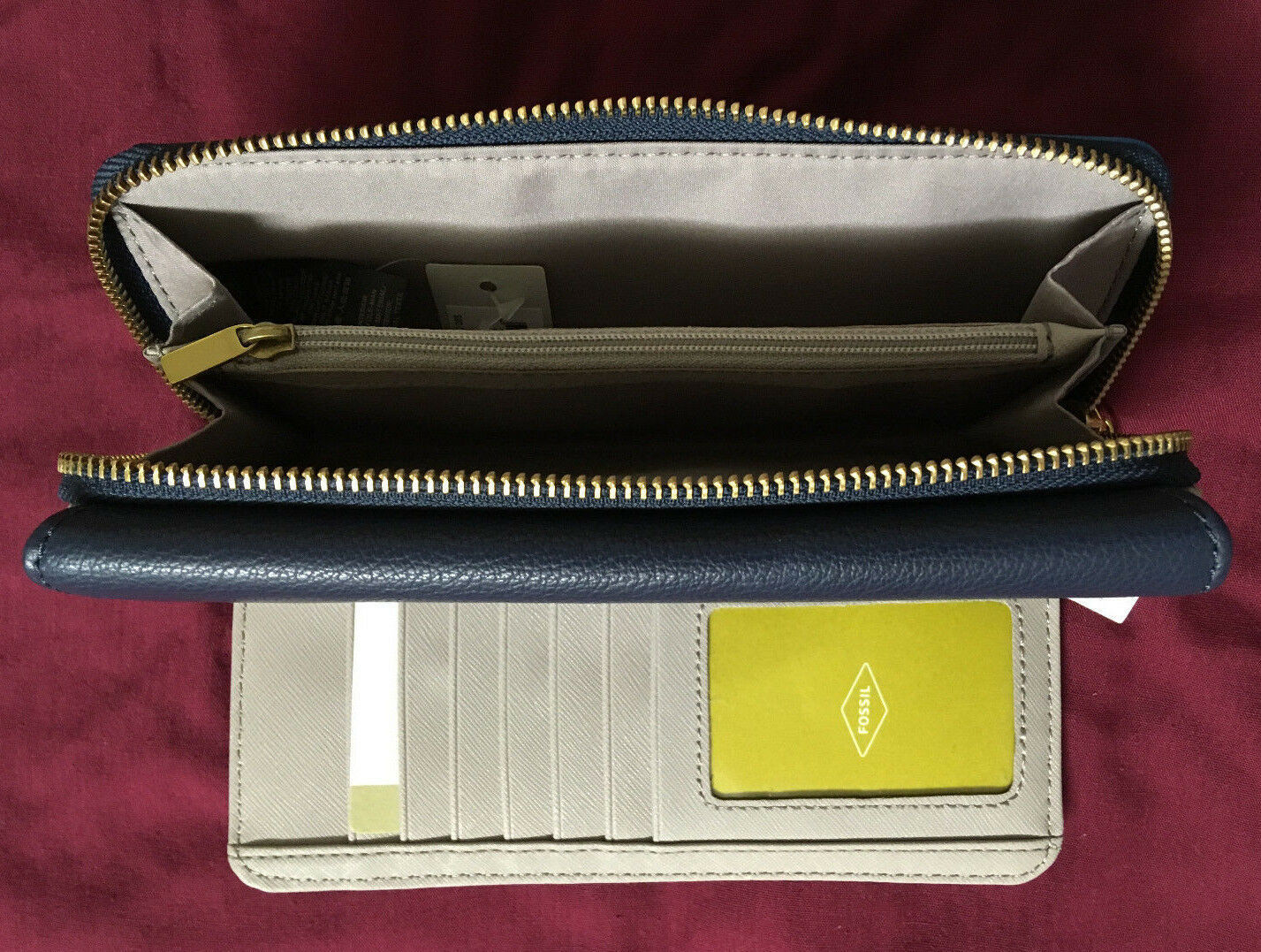 NWT Fossil Jori Blue Navy Leather Wallet Flap Clutch + 25% off your next order* image 5