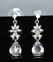 Vintage Styled Silver Tone Clear Rhinestone Flower Long Dangle Post Earrings - $29.70