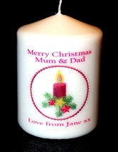 "Mum & Dad Christmas candle personalised gift  3"" inch #1 - $11.00"