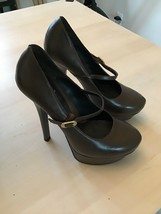 Fendi Womens Chocolate Brown Leather High Heels Shoes Sz 38 Mary Janes Strap - $71.99
