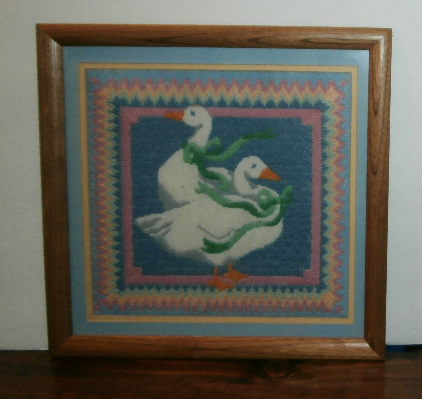 "Primary image for Geese Long Stitch Needlepoint Finished Matted & Framed 15.5"" Sq"