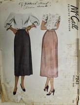 Vtg 1948 Sewing Pattern McCall  #7243 Womens Pencil Skirt Below Knee  wa... - $16.84