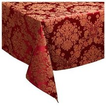 """WATERFORD 'WILTSHIRE' TABLELCLOTH/NAPKINS SET/5 70"""" X 84"""" COTTON FLORAL RED NEW - $119.55"""