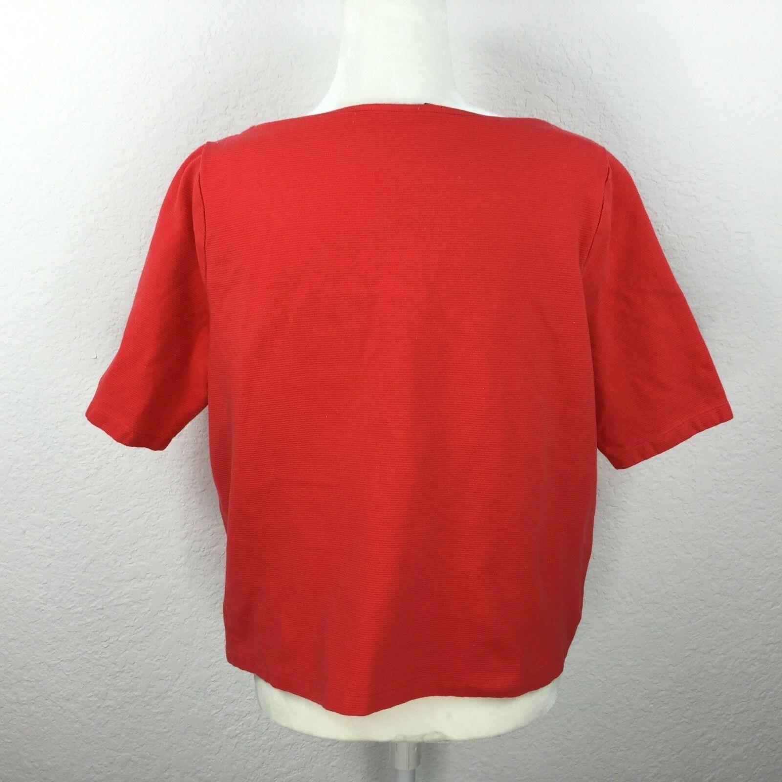 Lauren Ralph Lauren Women Size XL 3/4 Slevee Sweater Shirt Boat Neck Line Red