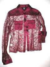 $278 W Worth Womens 8 Blouse Top Designer Lace Silk LS Dark Red Maroon N... - $125.10