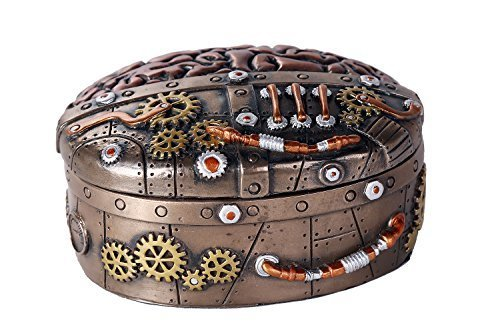 Primary image for Steampunk Clockwork Mind Brain Box Cast Bronze Lidded Stash Box Sculptural Decor