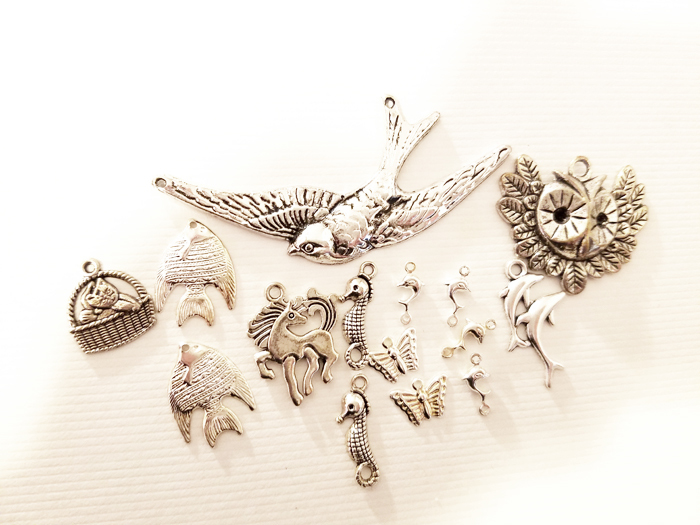 15 animal metal charms pendants collection owl bird dolphin silver tone mix lot