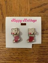 Vintage Christmas Cat/Stocking Earrings - $18.50