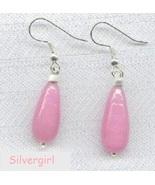 Creamy Pink Lampwork Tear Drop Dangle Silver Plate Earrings - $7.99