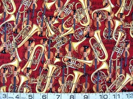 1/2 yd music/violins/tubas/horns on red quilt fabric -free shipping