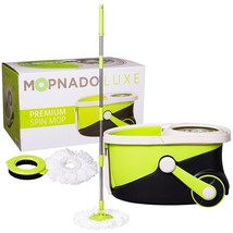 Mopnado Stainless Steel Deluxe Rolling Spin Mop with 2 Microfiber Mop He... - $74.08