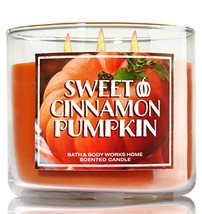 1 X Bath & Body Works 2014 SWEET CINNAMON PUMPKIN (Orange) 3 Wick Scente... - $30.00