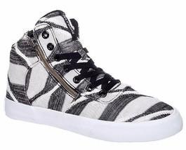 SUPRA Chaussures Femmes Noir Rayé Blanc Eclaboussures Haut Baskets 6US Nib