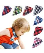 UNIQU® Baby Bib Bandana Plaid Cotton Snap Burp Newborn Infant Triangle S... - $3.53