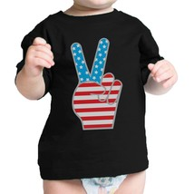 American Flag Peace Sign Black Cotton Infant Tee 4th Of July Gift - $14.99