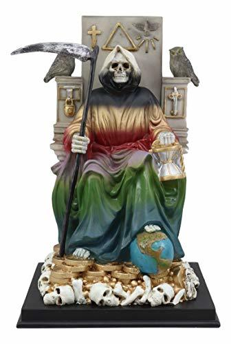 Ebros 7 Colors Rainbow Robe Santa Muerte Holy Sacred Death Bone Mother Seated On