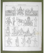 INDIA Mythology Gods Vishnu Buddha Krishna Lama Monks - 1825 Antique Print - $12.15