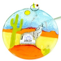 Desert Wolf Coyote Howling at Moon Fused Art Glass Ornament Handmade in Ecuador image 2