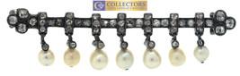 Antique 1880s Pearl Rose Cut Diamond 18K White Gold & Silver Bar Brooch - $1,194.46