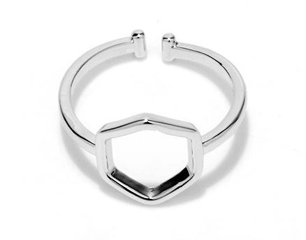 White gold plated geometric beehive hexagon simplistic ring jz057