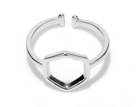 1 piece of White Gold Plated Geometric Beehive Hexagon Simplistic Ring(J... - $2.50