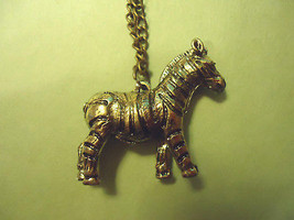 Brass Zebra Horse Necklace >> Combined Shipping << (7156) - $7.67