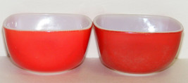 2 Vintage Small Red Square Pyrex Bowls - $12.00