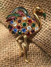 HTF Vintage Signed Trifari Flamingo Brooch Multicolors Jeweled Bling - $92.12