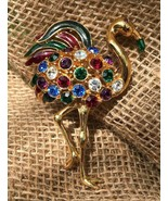 HTF Vintage Signed Trifari Flamingo Brooch Multicolors Jeweled Bling - $92.12