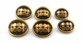 SET of 6 BIG Vintage 1960s 70s Handmade Bronze Modernist Design BUTTONS - $57.74