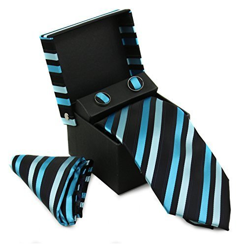 Berlioni Men's Silk Neck Tie Box Set With Cufflinks & Pocket Square (2079 - Blac