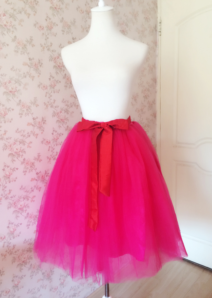 Adult Girls FUCHSIA HOT PINK Tulle Skirt Plus Size High Waist Midi Skirt Bow Tie