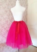 Adult Girls FUCHSIA HOT PINK Tulle Skirt Plus Size High Waisted Tutu Midi Skirt  image 1