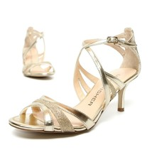 MARC FISHER Dress Heels Women's Size 6.5 Strappy Sandals Shoes Gold - NEW - $30.05
