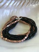 Estate Multistrand Black & Copper Colored Bead Stretch Bracelet – will f... - $11.29