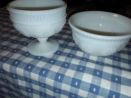 Candy Dish and Small Bowl  White Milk Glass The Pioneer Woman 2 Pieces - $18.69