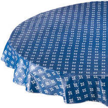 Heritage Vinyl Table Cover By Home-Style Kitchen-70ROUND-BLUE - $14.59