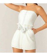 Contrast Stitch Frill Trim Self Belted Pocket Tube Romper Jumpsuit Playsuit - $46.79