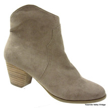 Carlos Santana Womens 8 US 38 EU Suede Tan Ankle Boots Stacked Heel Booties - £18.51 GBP