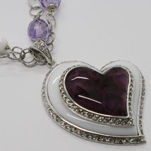 925 Silver Necklace, Amethyst, Agate White, Heart Pendant, Chain two files image 5